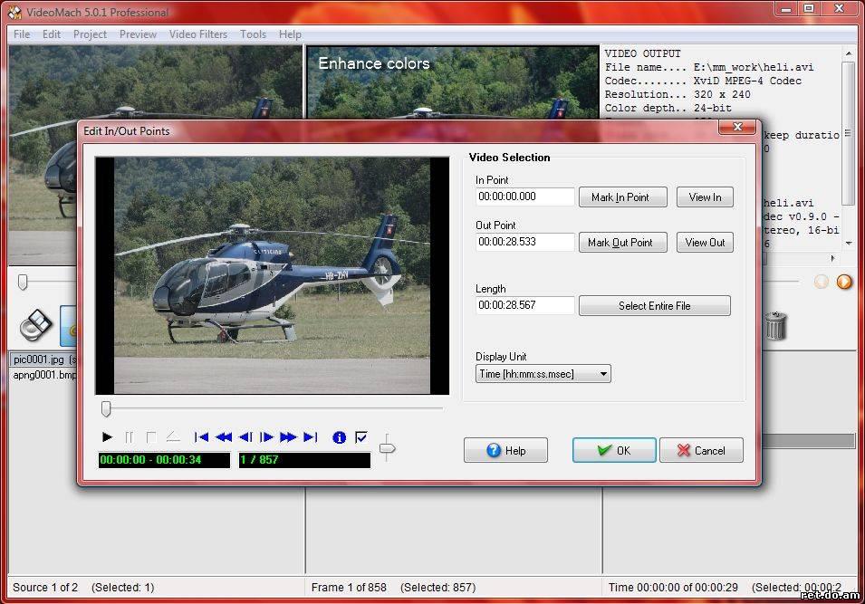 VideoMach 5.4.0 - редактор аудио и видео, а также конвертор